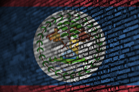 Belize flag  is depicted on the screen with the program code. The concept of modern technology and site development.