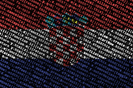 Croatia flag  is depicted on the screen with the program code. The concept of modern technology and site development. Stock Photo