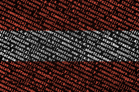 Austria flag  is depicted on the screen with the program code. The concept of modern technology and site development.