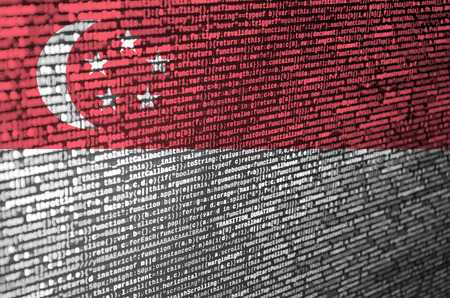 Singapore flag  is depicted on the screen with the program code. The concept of modern technology and site development.