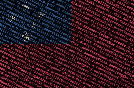Samoa flag  is depicted on the screen with the program code. The concept of modern technology and site development.