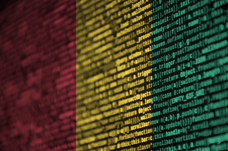 Guinea flag  is depicted on the screen with the program code. The concept of modern technology and site development. Stock Photo