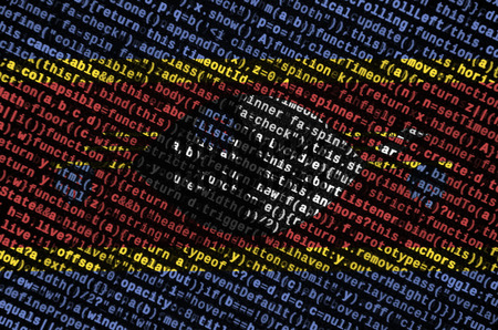 Swaziland flag is depicted on the screen with the program code. The concept of modern technology and site development.