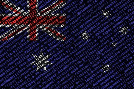 Australia flag  is depicted on the screen with the program code. The concept of modern technology and site development. Stock Photo