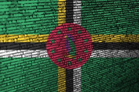 Dominica flag  is depicted on the screen with the program code. The concept of modern technology and site development. Imagens - 109443627