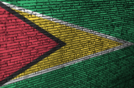 Guyana flag is depicted on the screen with the program code. The concept of modern technology and site development.