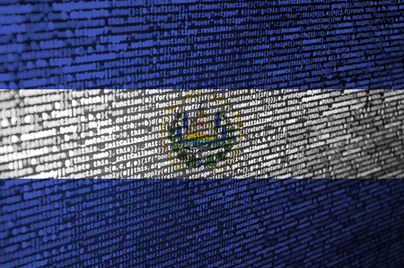 El Salvador flag  is depicted on the screen with the program code. The concept of modern technology and site development.