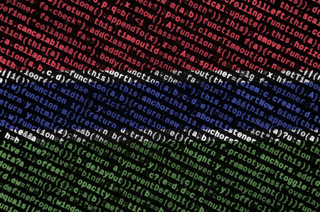 Gambia flag  is depicted on the screen with the program code. The concept of modern technology and site development. Imagens - 109441626