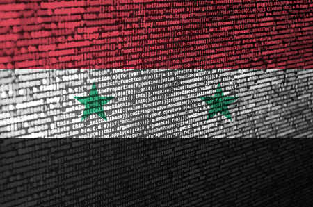 Syria flag  is depicted on the screen with the program code. The concept of modern technology and site development. Imagens - 109440905