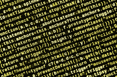 Computer program preview. Programming code typing. Information technology website coding standards for web design Modern tech. CSS, JavaScript and HTML usage. Abstract IT technology background Stockfoto
