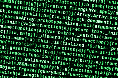 JavaScript code in text editor. Coding cyberspace concept. Screen of web developing javascript code. Implementing SEO concepts for better SERP. HTML markup language closeup. Website design