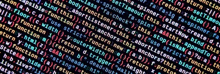 Javascript functions, variables, objects. Monitor closeup of function source code. IT specialist workplace. Big data and Internet of things trend. HTML website structure. Website programming code