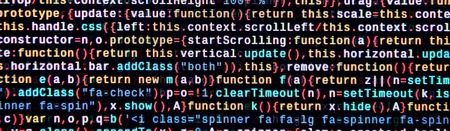 Writing programming code on laptop. Digital binary data on computer screen. Project managers work new idea. Software engineer at work. Software abstract background. Modern tech