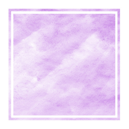 Purple hand drawn watercolor rectangular frame background texture with stains. Modern design element