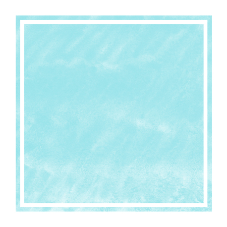 Light blue hand drawn watercolor rectangular frame background texture with stains. Modern design element
