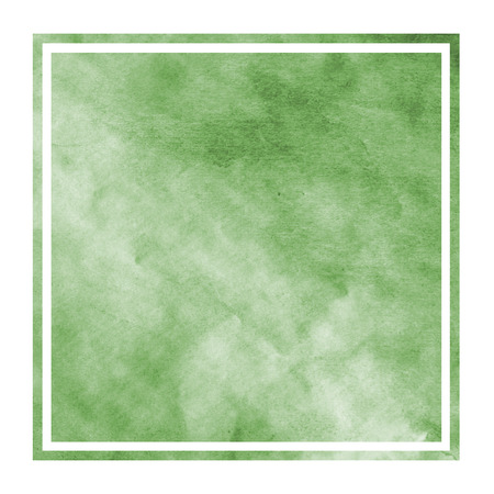 Dark green hand drawn watercolor rectangular frame background texture with stains. Modern design element Stock Photo