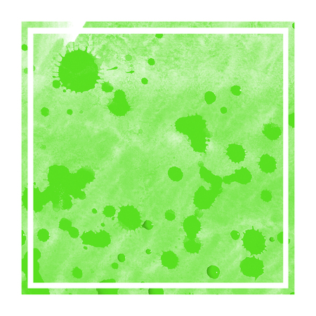 Green hand drawn watercolor rectangular frame background texture with stains. Modern design element