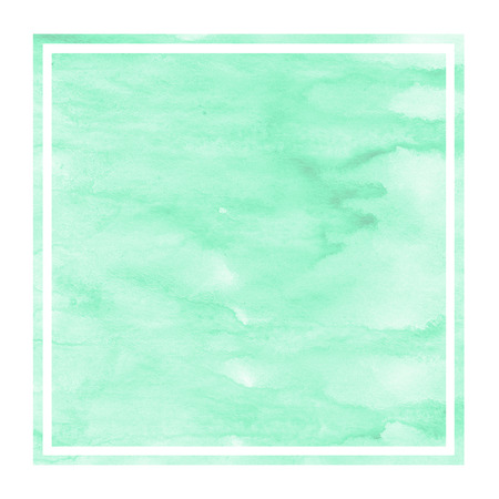 Turquoise hand drawn watercolor rectangular frame background texture with stains. Modern design element
