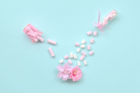 Metaphorical concept of care for flowers. Pink flower sprayed with marshmallows from small transparent tanks on a pastel blue background. Minimal flat lay composition. Top view