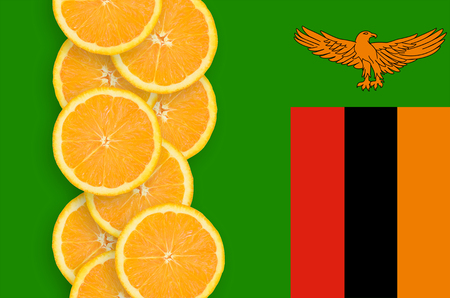 Zambia flag and vertical row of orange citrus fruit slices. Concept of growing as well as import and export of citrus fruits