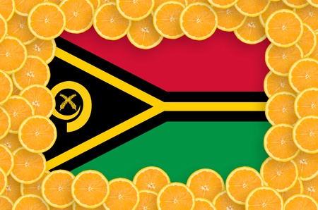 Vanuatu flag  in frame of orange citrus fruit slices. Concept of growing as well as import and export of citrus fruits