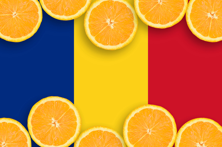 Romania flag  in horizontal frame of orange citrus fruit slices. Concept of growing as well as import and export of citrus fruits 版權商用圖片