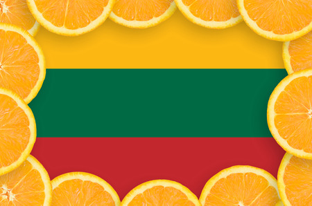 Lithuania flag  in frame of orange citrus fruit slices. Concept of growing as well as import and export of citrus fruits