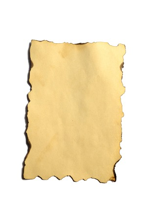 Old blank piece of antique vintage crumbling paper manuscript or parchment vertically oriented isolated on white