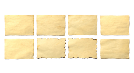 Set of old blank pieces of antique vintage crumbling paper manuscript or parchment horizontally oriented isolated on white Stok Fotoğraf