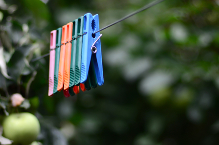 Clothespins on a rope hanging outside house, apple tree and blurred background