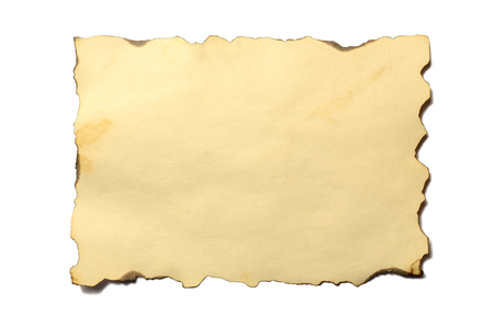 Old blank piece of antique vintage crumbling paper manuscript or parchment horizontally oriented isolated on white