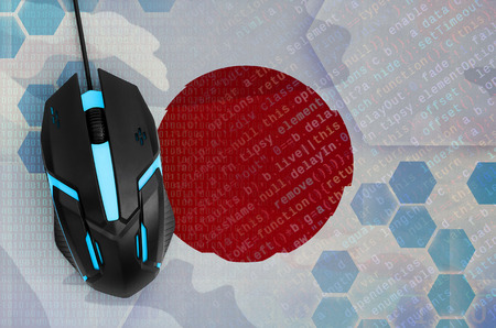Japan flag  and modern backlit computer mouse. The concept of digital threat, illegal actions on the Internet