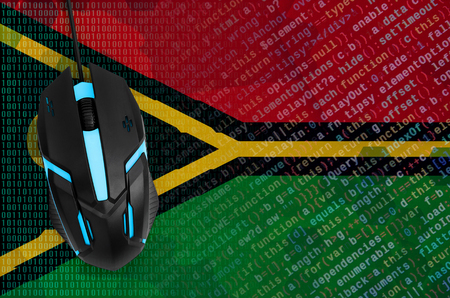 Vanuatu flag  and modern backlit computer mouse. The concept of digital threat, illegal actions on the Internet