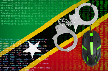 Saint Kitts and Nevis flag  and handcuffed modern backlit computer mouse. Creative concept of combating computer crime, hackers and piracy 免版税图像
