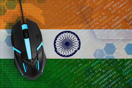 India flag  and modern backlit computer mouse. The concept of digital threat, illegal actions on the Internet 免版税图像