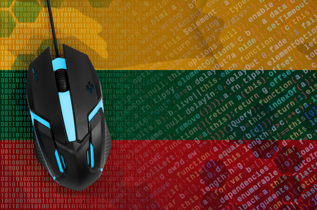 Lithuania flag  and modern backlit computer mouse. The concept of digital threat, illegal actions on the Internet Stock fotó