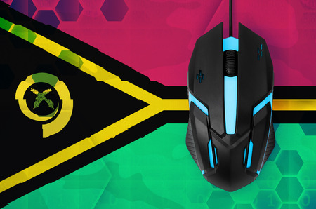 Vanuatu flag  and modern backlit computer mouse. Concept of country representing e-sports team