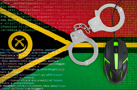 Vanuatu flag  and handcuffed modern backlit computer mouse. Creative concept of combating computer crime, hackers and piracy