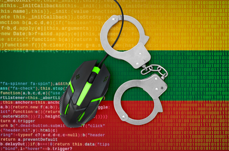 Lithuania flag  and handcuffed modern backlit computer mouse. Creative concept of combating computer crime, hackers and piracy