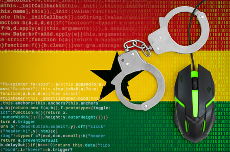 Ghana flag  and handcuffed modern backlit computer mouse. Creative concept of combating computer crime, hackers and piracy