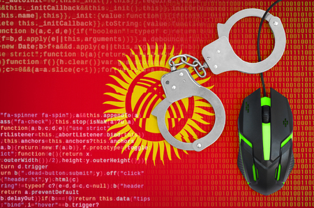 Kyrgyzstan flag  and handcuffed modern backlit computer mouse. Creative concept of combating computer crime, hackers and piracy