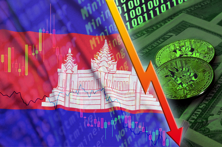 Cambodia flag and cryptocurrency falling trend with two bitcoins on dollar bills and binary code display. Concept of reduction Bitcoin in price and bad conversion in cryptocurrency mining