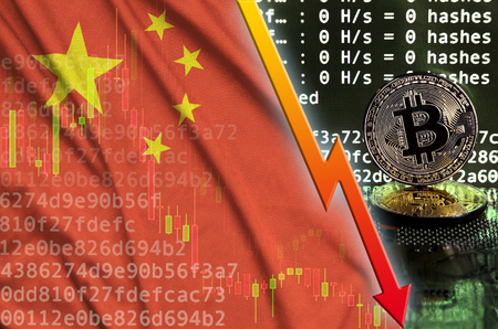 China flag and falling red arrow on bitcoin mining screen and two physical golden bitcoins. Concept of low conversion in cryptocurrency mining