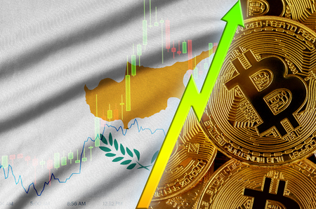 Cyprus flag  and cryptocurrency growing trend with many golden bitcoins. Concept of raising Bitcoin in price or high conversion in cryptocurrency mining