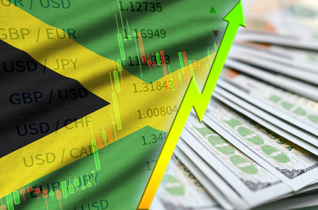 Jamaica flag and chart growing US dollar position with a fan of dollar bills. Concept of increasing value of US dollar currency