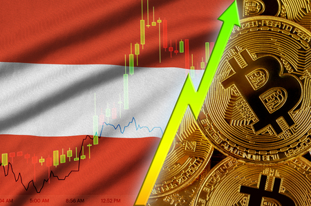 Austria flag  and cryptocurrency growing trend with many golden bitcoins. Concept of raising Bitcoin in price or high conversion in cryptocurrency mining 免版税图像