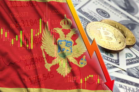 Montenegro flag and cryptocurrency falling trend with two bitcoins on dollar bills. Concept of depreciation Bitcoin in price against the dollar