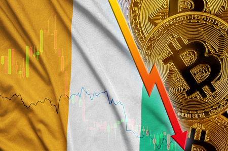 Ivory Coast flag and cryptocurrency falling trend with many golden bitcoins. Concept of reduction Bitcoin in price or bad conversion in cryptocurrency mining