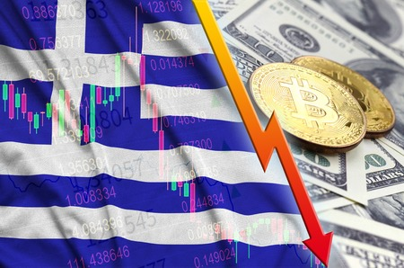 Greece flag and cryptocurrency falling trend with two bitcoins on dollar bills. Concept of depreciation Bitcoin in price against the dollar Banco de Imagens