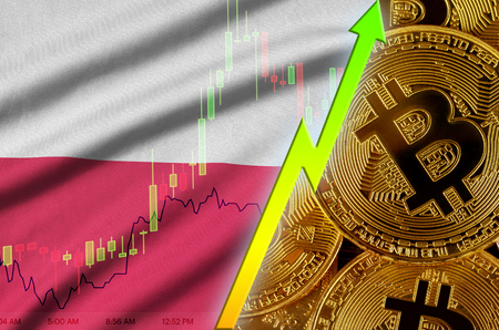 Poland flag  and cryptocurrency growing trend with many golden bitcoins. Concept of raising Bitcoin in price or high conversion in cryptocurrency mining